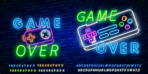 Game over neon text