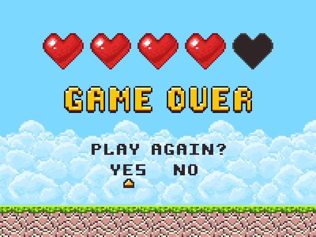 Game over pixel art аркадный игровой экран
