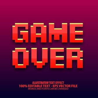 Game over, редактируемый текстовый эффект в пиксельном стиле