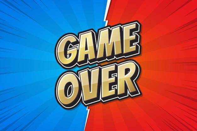 Игра окончена, плакат комической речи пузырь