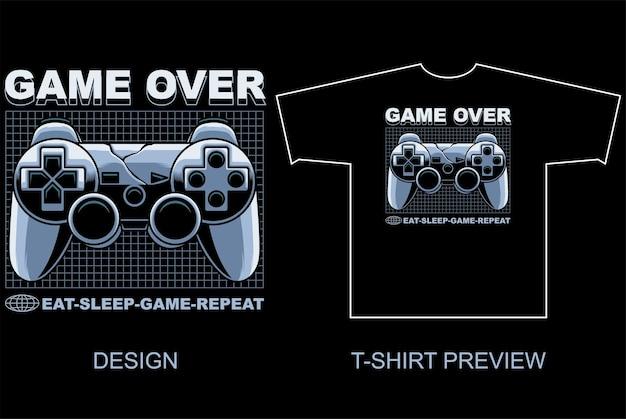 Игровая панель в стиле уличной одежды, векторная иллюстрация и предварительный просмотр футболки на отдельном объекте
