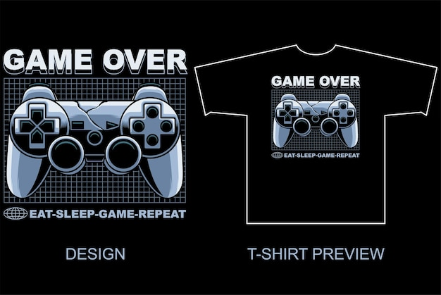Game pad streetwear style vector illustration and tshirt preview on separate object