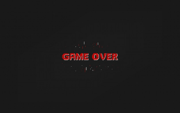 Game over pixel art design isolated on background. pixel art for game design.