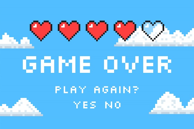 Game over. pixel art. retro game style