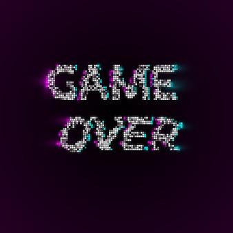 Game over  in pixel art style Premium Vector