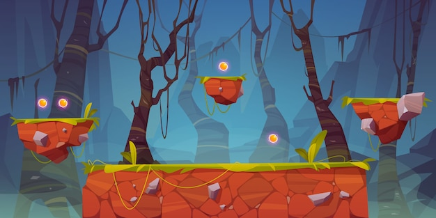 Game platform cartoon forest landscape, 2d design
