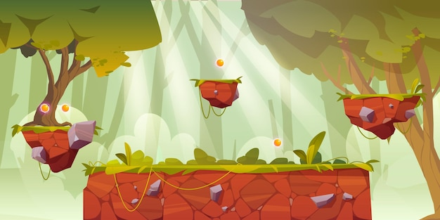 ゲームプラットフォームの漫画の森の風景、コンピューターまたはモバイル用の2duiデザイン。緑の木々、草またはつる植物、ジャンプのためのアーケード要素、ボーナスアイテムまたは自然の場所の背景と明るい木