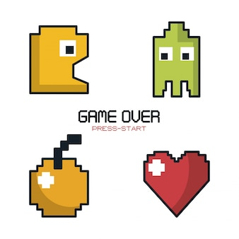 Game over press start with graphics of game pacman