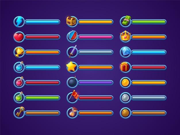 Game progress bars vector set ui cartoon interface design elements power life or health magic spell ...