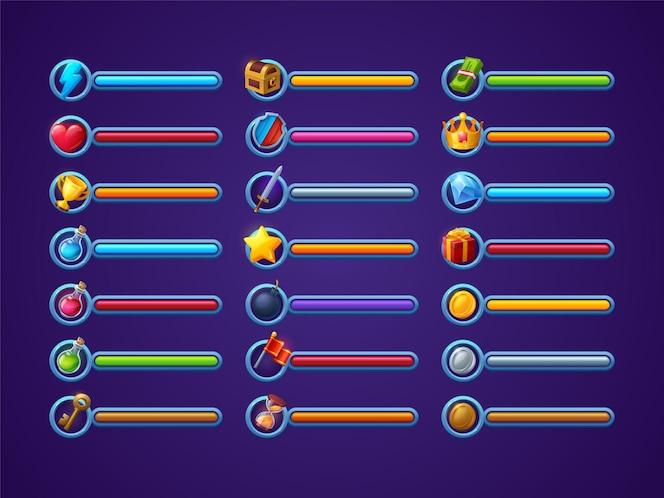 게임 진행률 표시줄 벡터 설정 ui 만화 인터페이스 디자인 요소 전원 생활 또는 건강 마법 주문 ...