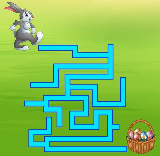 Игра-лабиринт кролика находит путь к яйцу