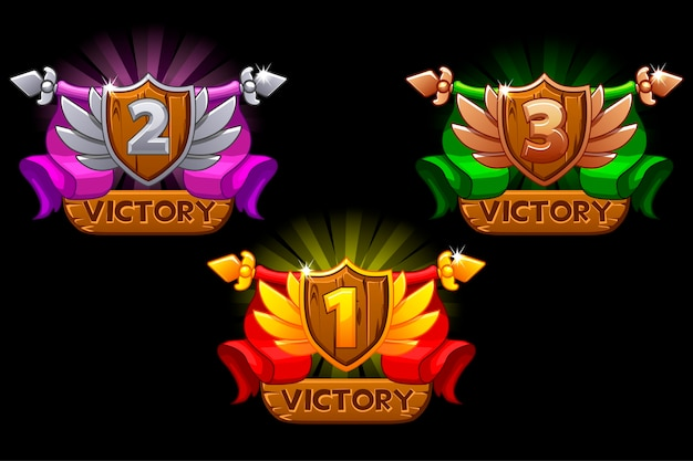 Game rating icons with shields and ribbons