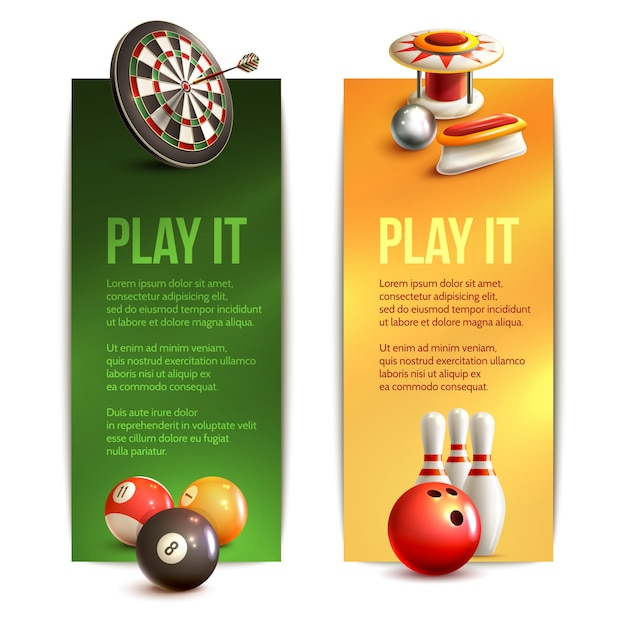 Free Game Realistic Vertical Banner Set With Bowling Pinball Billiard Darts Isolated Vector Illustration Svg Dxf Eps Png Vector Svg File Free Download