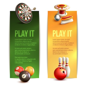Game realistic vertical banner set with bowling pinball billiard darts isolated vector illustration