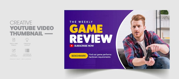 Game review youtube thumbnail and web banner templat