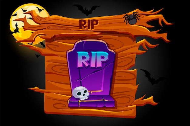 Game rip icon, wooden banner and scary night.  illustration of a grave for halloween and the moon with bats.