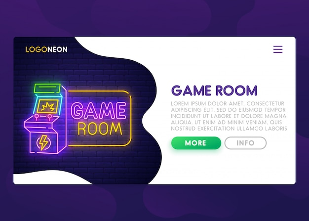 Game room neon sign landing page