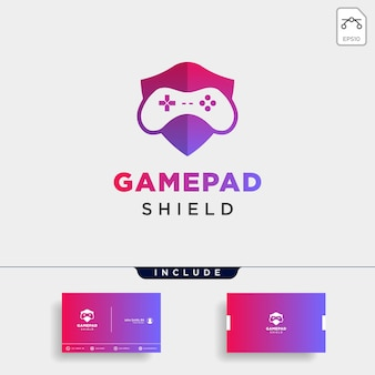 Game shield logo design template with business card include vector illustration icon element - vector