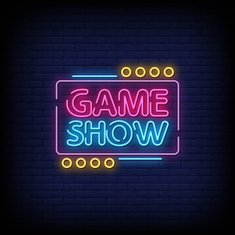 Game show neon signs style text