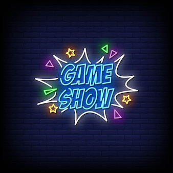 Game show neon signs style text .
