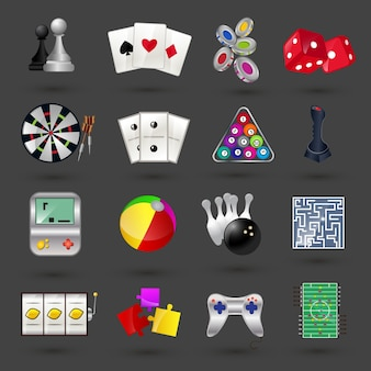 Game sport and gambling casino icons set isolated vector illustration