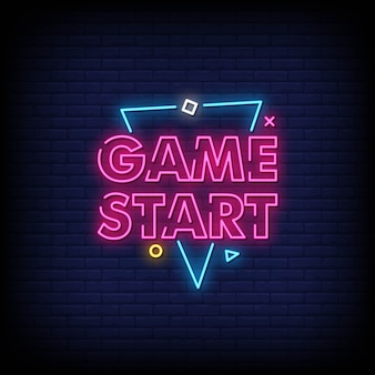 Game start neon signs style text