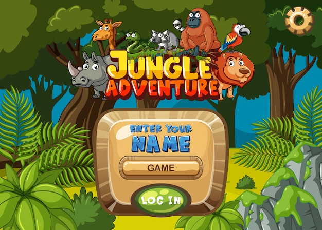 Game template design with trees and animals in forest background