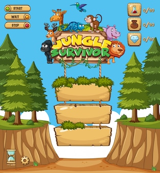 Game template design with trees in forest background