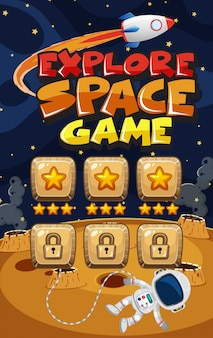Game template for explore space with spaceship flying