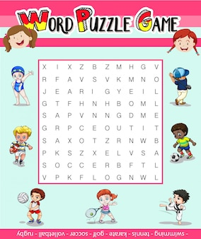 多くのスポーツでのワードパズルのゲームテンプレート