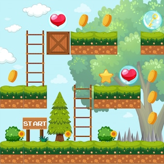 Game template in forest scene