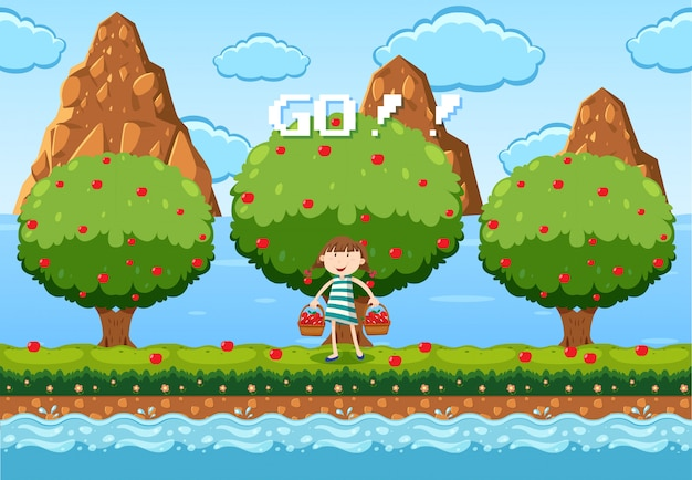 A game template fruit picking