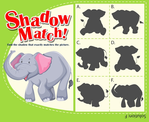 Game template for shadow matching elephant