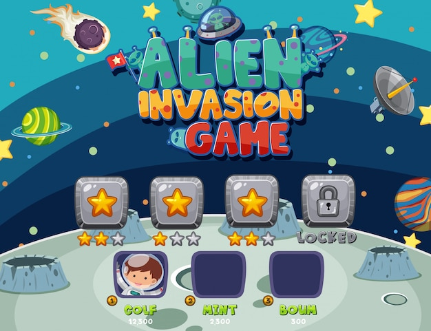 Game template with alien invasion in the space