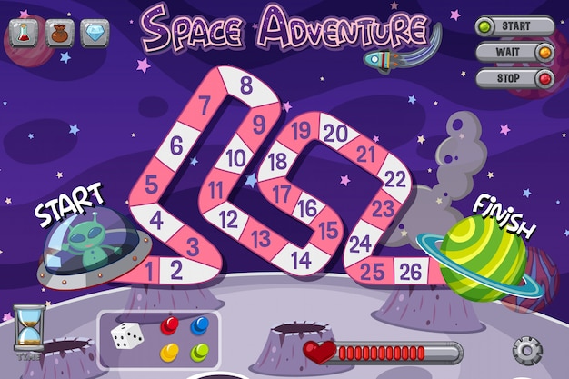 Game template with alien in spaceship