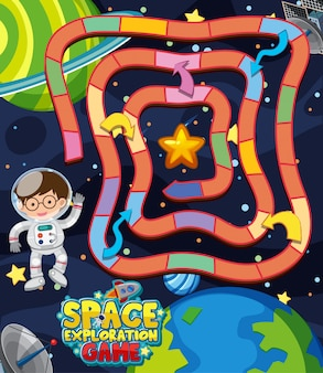 Game template with astronaut in space
