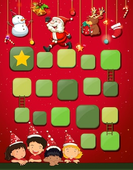 Game template with children and christmas