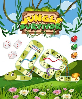Game template with green snake in the jungle