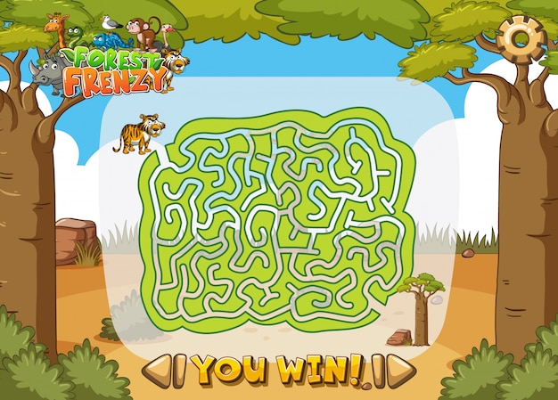 Game template with maze in the jungle