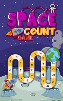 Game template with numbers in space