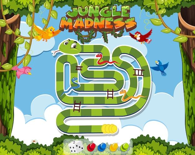 Шаблон игры со змеей в джунглях