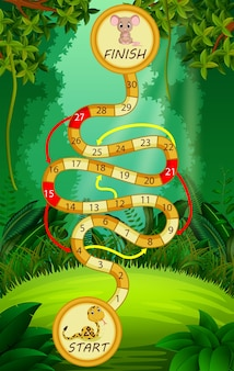 Game template with snake and mouse in forest