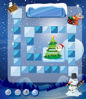 Game template with snowman and tree