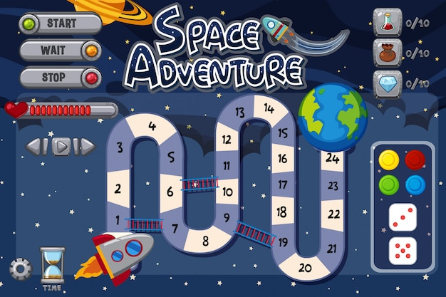 Game template with spaceship riding to earth