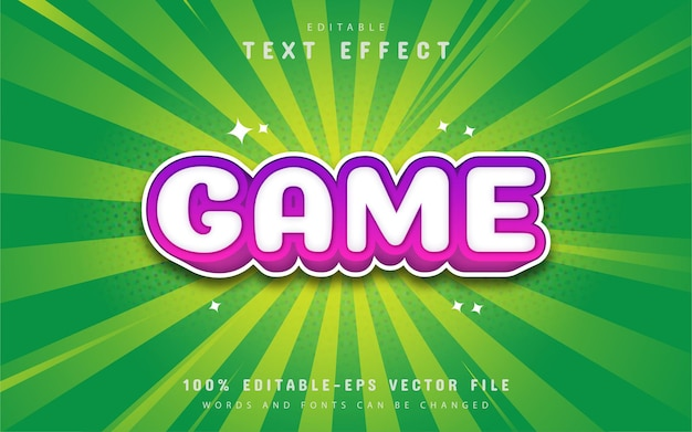 Game text, cartoon comic style text effect