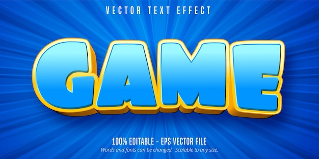Game text, cartoon style editable text effect