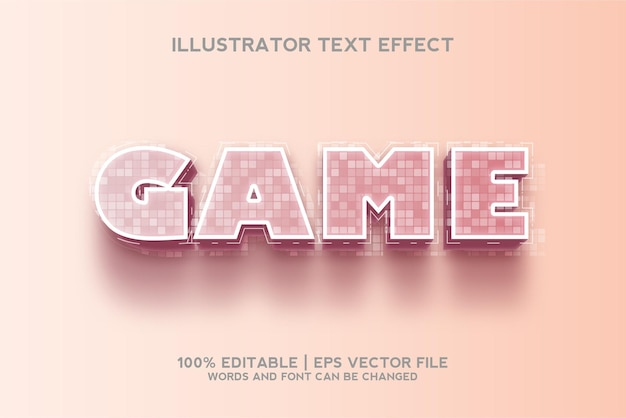 Game text effect 3d template