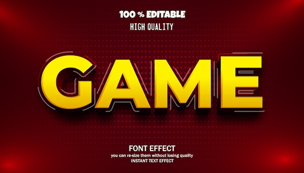 Game text effect, editable font