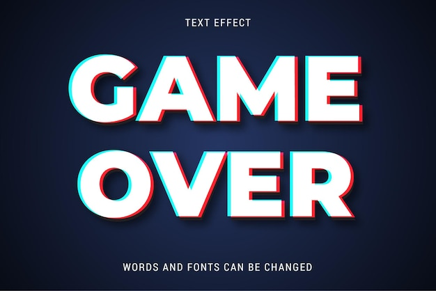 Game over text effect editable vector eps cc