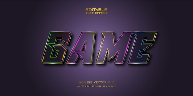 Game text effect, neon style, editable text effect
